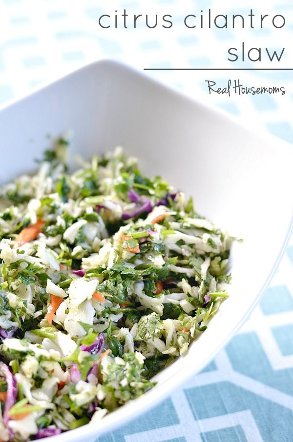 Citrus Cilantro Slaw is a light and refreshing side perfect for summer! It works on it's own or topping your favorite tacos!