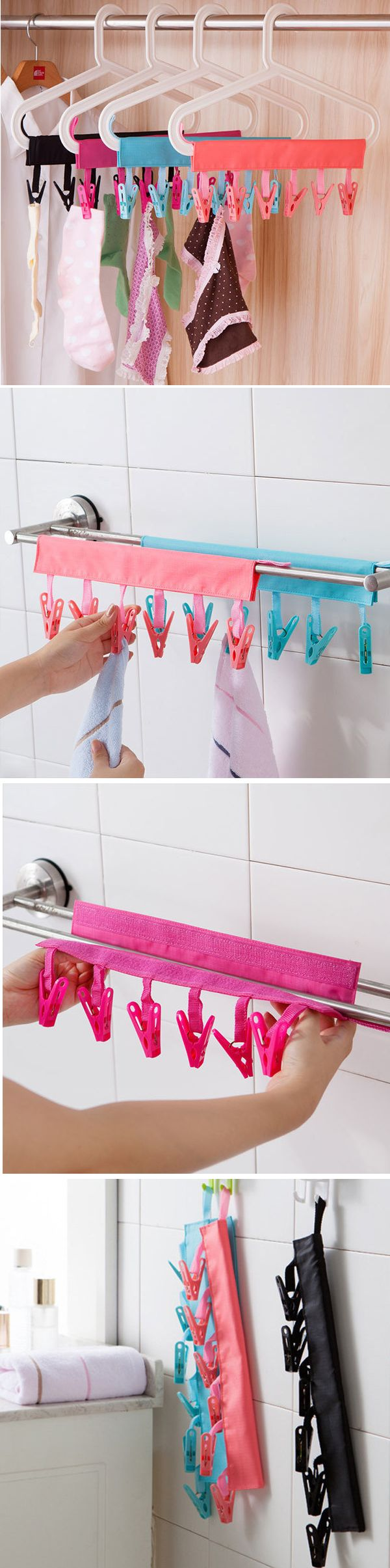 US$4.10 Portable Folding Clothes Storage Hanger Rack Creative Cloth Clip Multifunctional Travel Clothespin