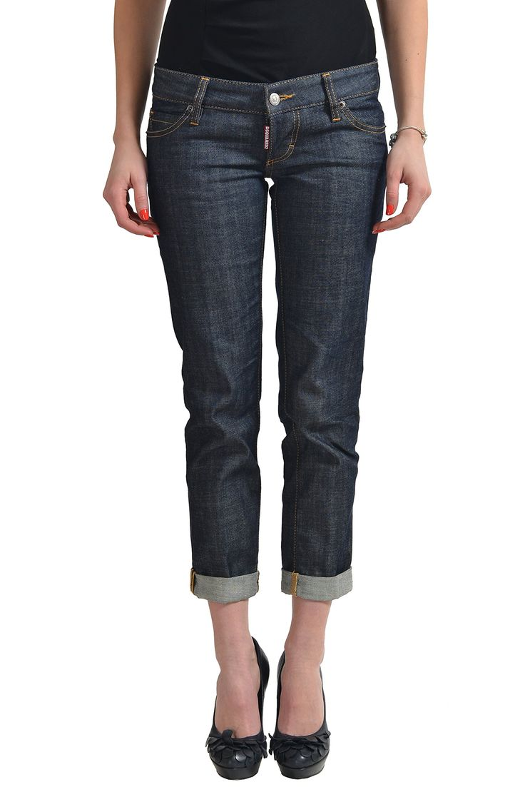 "Dsquared2 ""Pat Jean"" Dark Wash Women's Cropped Jeans US 4 IT 40. Material: 98% Cotton 2% Spandex. Made in Italy. Measured Waist: 31"" Rise In Inches: 6.25"". Inseam: 25"" Leg Opening: 5.75""."