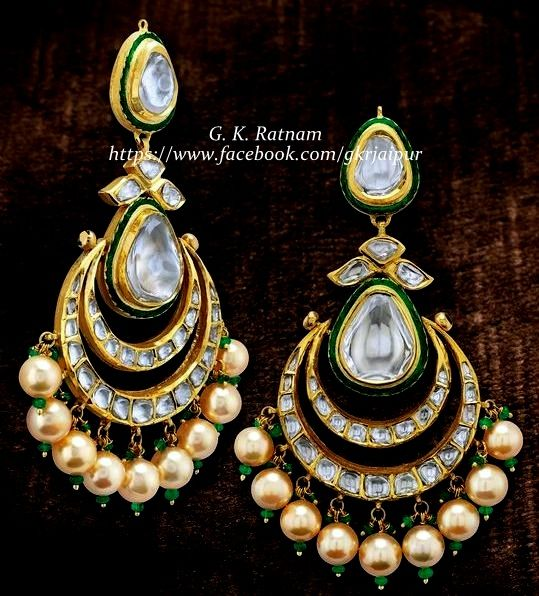 Jewelry always fits   Diamond Polki Earrings   Chand Bali   Chand Bala   Traditional Indian Jewelry   Wedding Jewelry   Bridal Jewelry