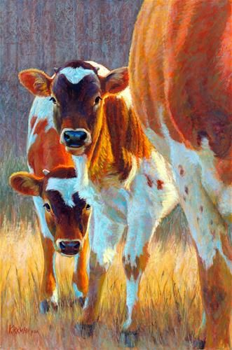 "Daily Paintworks - ""Timid Twins"" by Rita Kirkman"