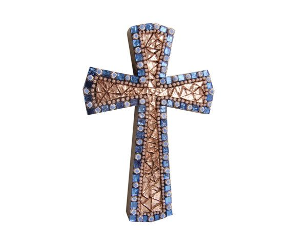 decorative wall cross for baptism in Murano glass art