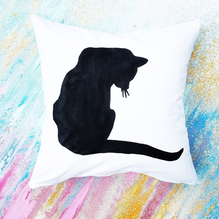 Cat Silhouette Cover w/Feather Pillow Insert, Home Decor, Dorm Decor, Cat Decor, Cat Lover Gift, Cat Pillow, Christmas Gift, Gift for Her