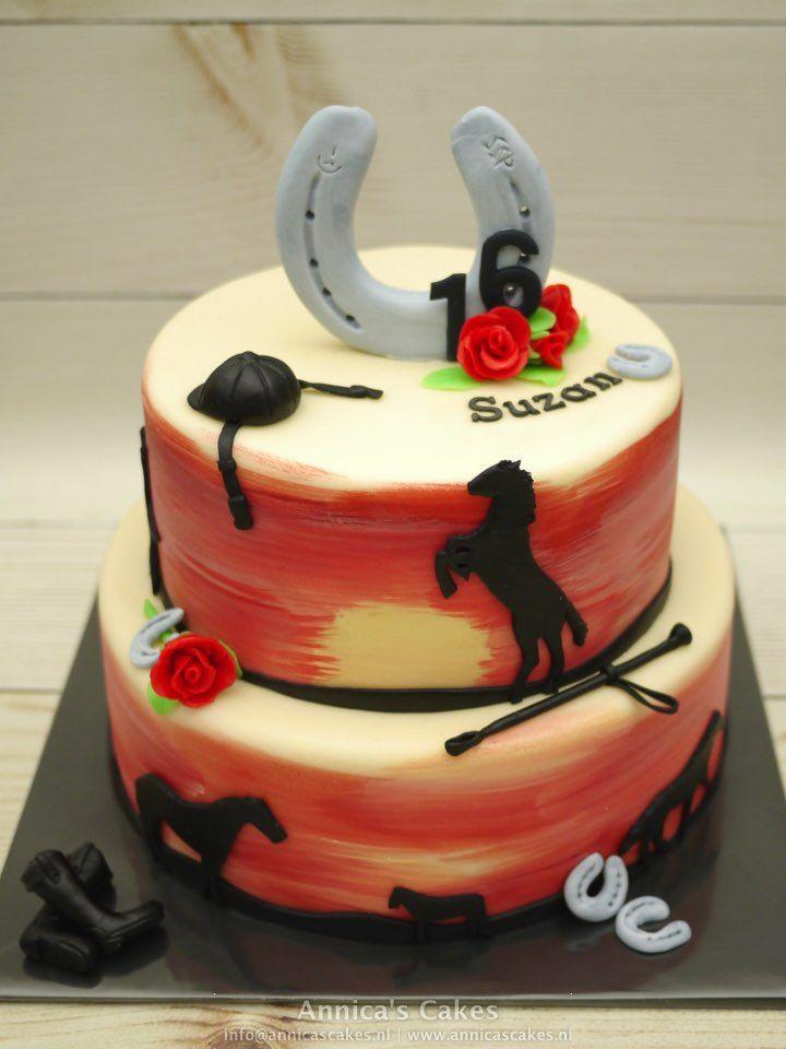 Sweet 16 horses cake.Paarden silhouetten taart.