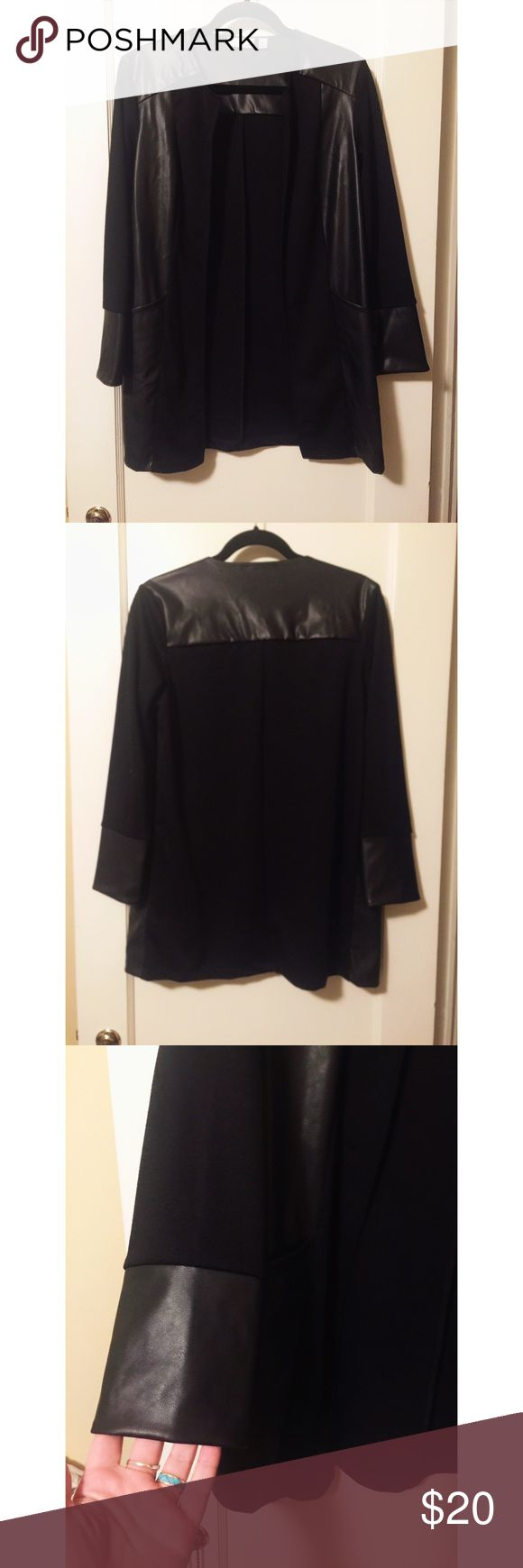 Leather Sleeved Cardigan Super cute long sleeved blazer/cardigan with leather sleeves and accents. Can easily be dressed up with heels and a blouse, or down with distressed denim and boots. Size is XS but fits more like a S or M. Only tried on, never worn. Nordstrom Jackets & Coats Blazers