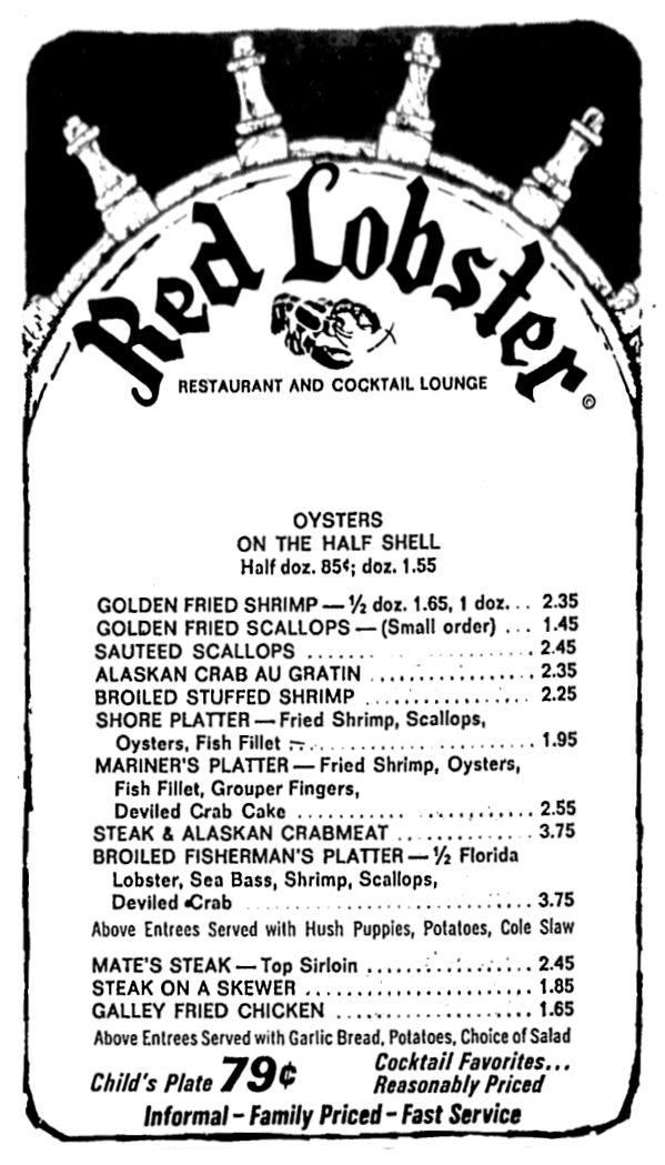 Red Lobster January 1972 Red lobster, Vintage menu