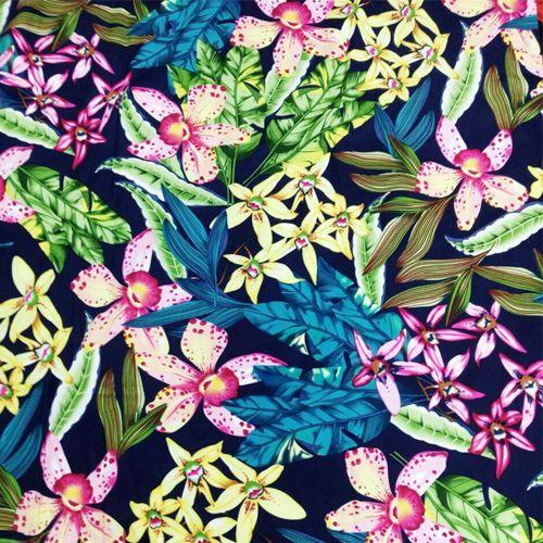 Vintage big leaves endulge flower one-piece dress clothes fabric leaves flower 100% cotton