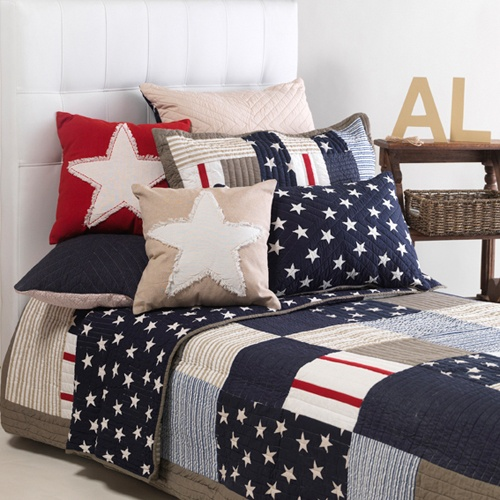 Red, navy and blue star theme for Ashton's room