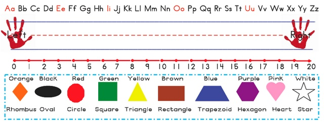 LOVE these templates for desk name plates! There are letters, colors, a number line, shapes, and reminders for left and right!