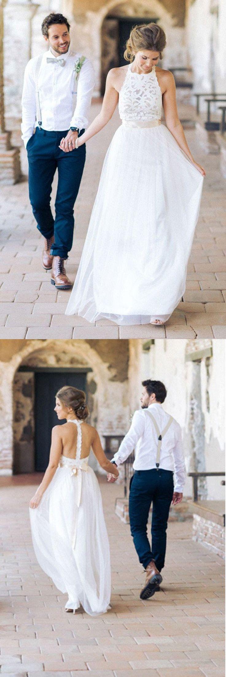 Simple Jewel Sleeveless Wedding DressChiffon Lace Top DressLace Tulle Beach