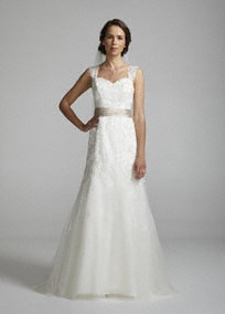 Be a vision of beauty on your wedding day in this all over beaded and lace adorned mermaidgown.   Features cap sleeves.  Beaded lace bodice.  Champagne Sash at waist.  Sweep Train.  Available in Ivory/Champagne. Sizes 2-16.  Fully lined. Imported polyester. Dry clean only. David's Bridal: David Bridal, Wedding Dressses, Mermaids Gowns, Lace Mermaids, Cap Sleeve, Sleeve Beads, Beads Lace, Bridal Wedding Dresses, Gowns Style