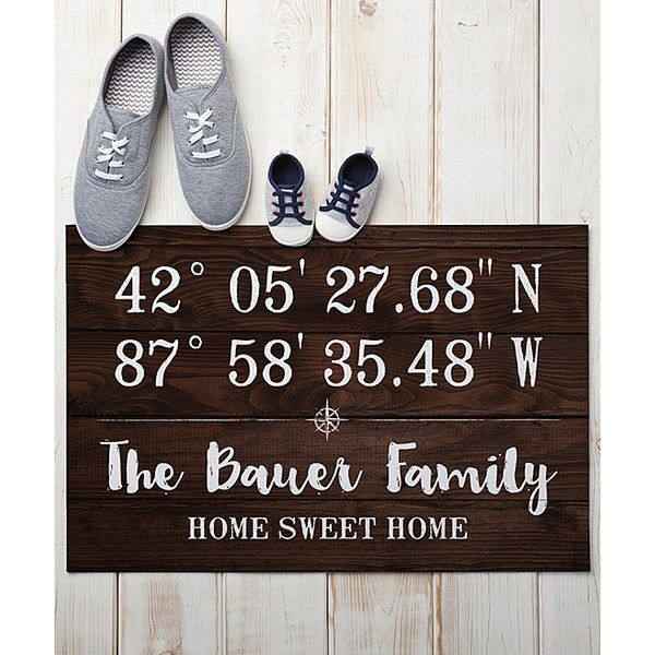 Personalized Planet Brown Latitude and Longitude Personalized Doormat ($17) ❤ liked on Polyvore featuring home, outdoors, outdoor decor, personalized door mat, brown door mat, personalized outdoor mats, personalized welcome mats and personalized doormats