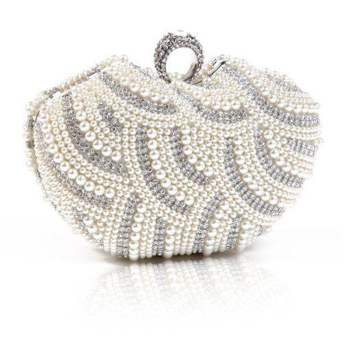 Damara Womens Luxury Special Crystals Beaded Pearl Clutch...