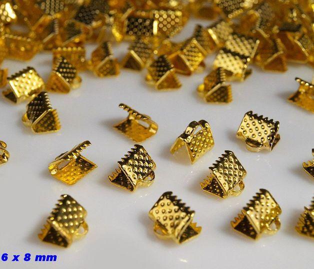 20 x Klemmverschluss flach gold 6 x 8 mm