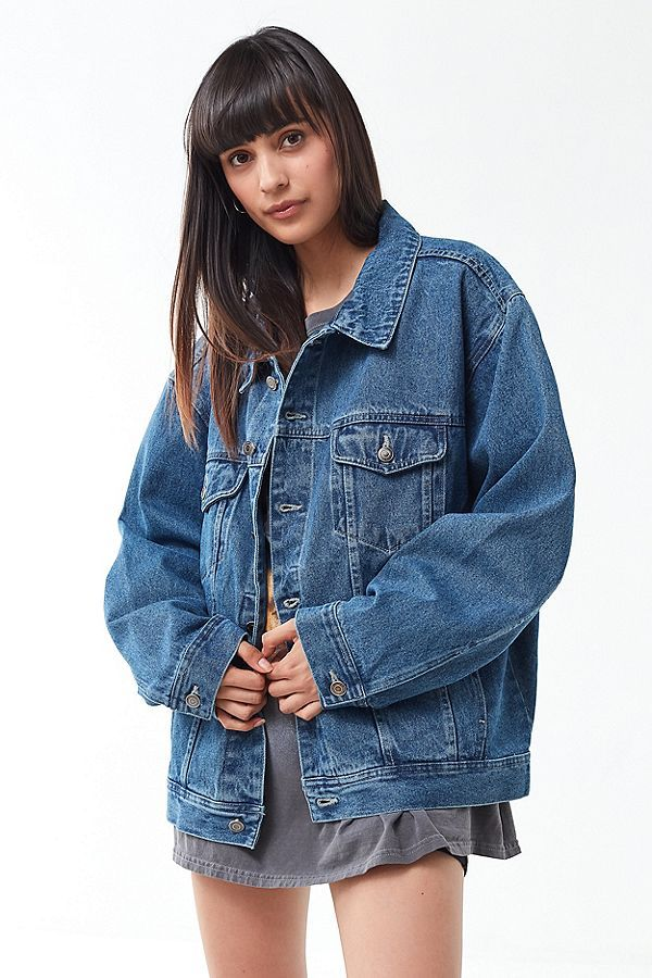 Vintage Oversized Denim Jacket Jean Jacket Outfits Jacket Outfits Denim Jacket