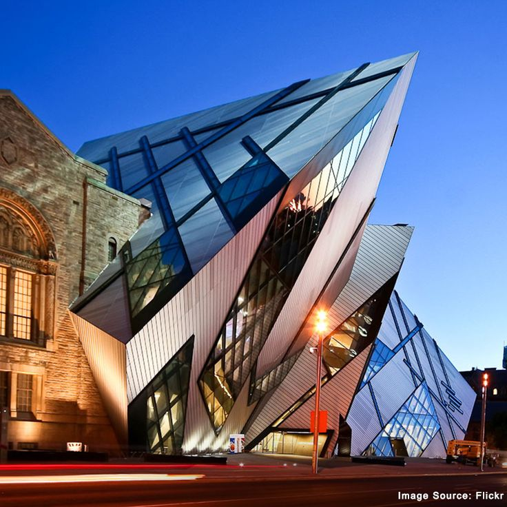 The Royal Ontario Museum Crystal Building in Canada is a wonderful display of modern architecture.