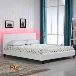 VEGAS Lit LED adulte blanc 160x200cm + sommier + tête de lit avec éclairage LED