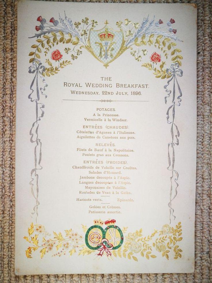 FINE ANTIQUE 1896 ROYAL WEDDING BREAKFAST MENU BUCKINGHAM PALACE KING HAAKON