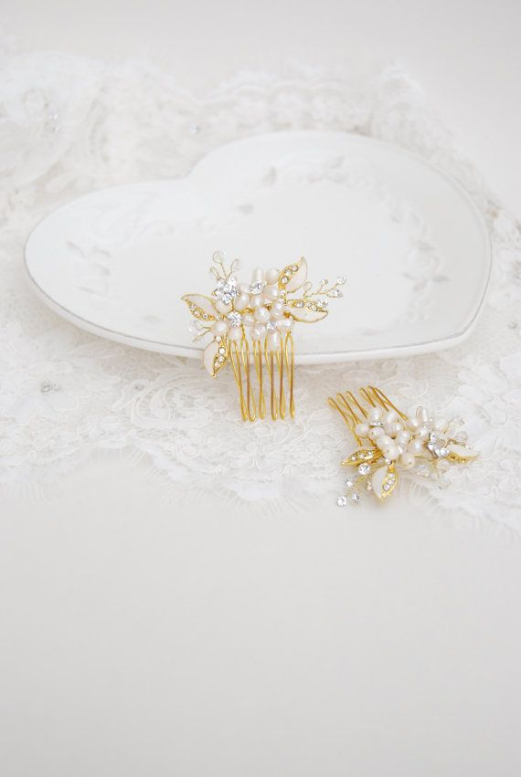 Bridal flower comb set, crystal pearl hair brooch, wedding hair jewelry, floral leaf hairpins, gold headpieces, bride accessories - Alix
