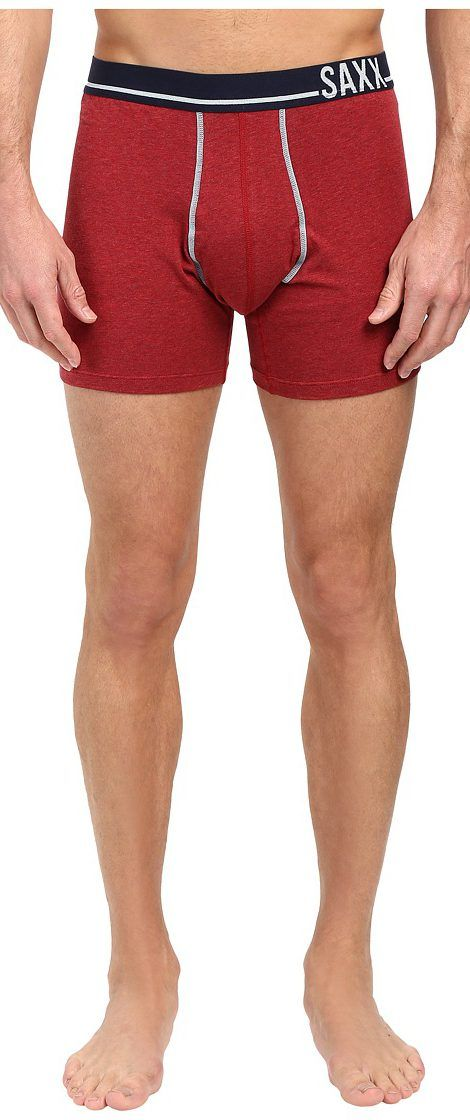 SAXX UNDERWEAR 3 Six Five Boxer (Red Hot Heather/Navy) Men's Underwear - SAXX UNDERWEAR, 3 Six Five Boxer, SXBB18-HRH, Apparel Bottom Underwear, Underwear, Bottom, Apparel, Clothes Clothing, Gift - Outfit Ideas And Street Style 2017