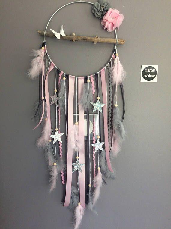 Dreamcatcher Dreamcatcher Treibholz und Stern, pink und grau
