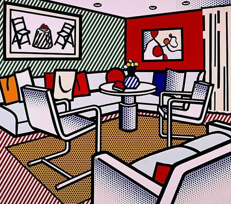 Roy Lichtenstein. Interior con pared roja, 1991.