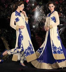 #EID 2015 SPECIAL #DRESS FOR INDIAN & PAKISTANI LADY. LONG #SHERWANI STYLE TOP TO PAIR WITH EITHER A SALWAR AND A LEHENGA.. STUNNING OFF-WHITE GEORGETTE #LONG_KAMEEZ WITH BLUE SANTOON #SALWAR, NET #LEHENGA AND CHIFFON #ODHNI