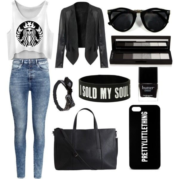 BLACK AND WHITE LOVE♡♡ by jeanettejeanette on Polyvore featuring polyvore fashion style H&M Pieces Wet Seal shu uemura Butter London
