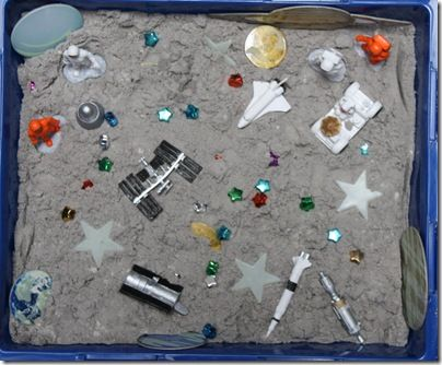 Another space sensory idea, using moon sand.