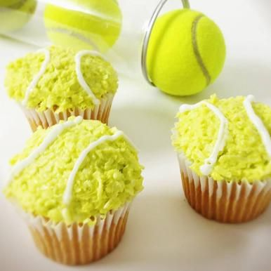 Tennis Cupcakes: Ace it! Get the fuzzy texture of a tennis ball by adding coconut shavings to your frosting.
