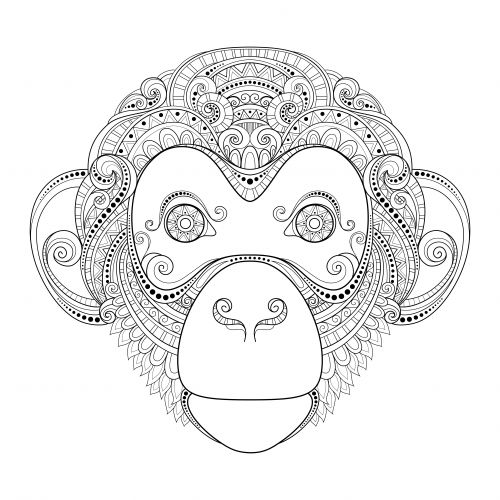 monkey advanced coloring page - Free Colouring