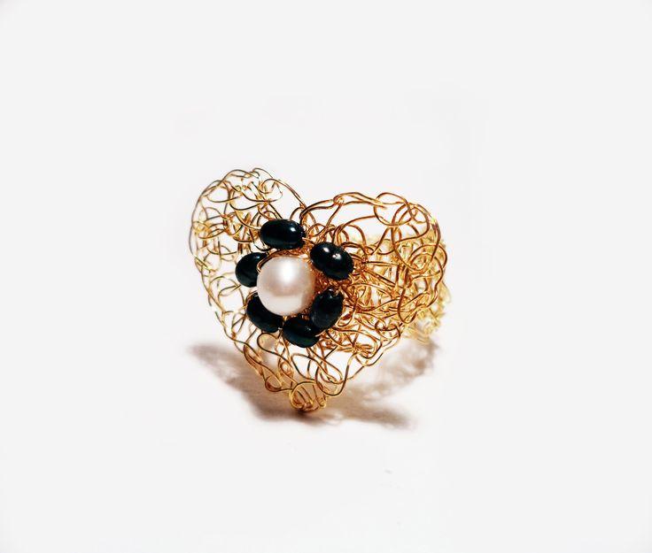 Burnt Heart ring crocheted brass wire gold plated 18K by Algo Elegante  http://www.algoelegante.gr/en/36/rings/burnt-heart.html