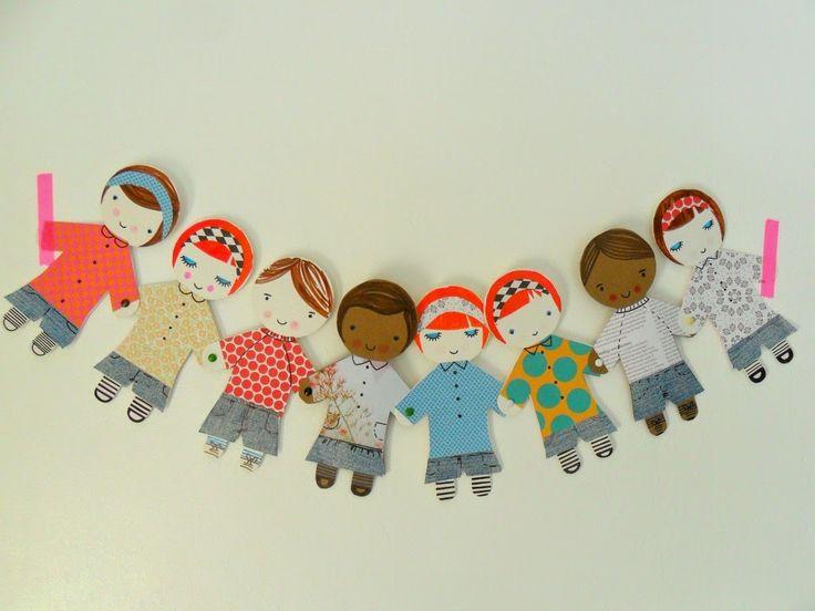 teawagontales paper chain people kids craft