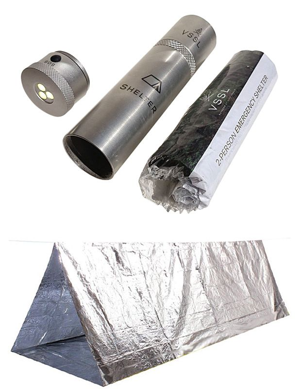 VSSL Shelter - reflective, heat retaining stored in an 8-inch long by 2-inch diameter aluminum tube that is also an LED flashlight