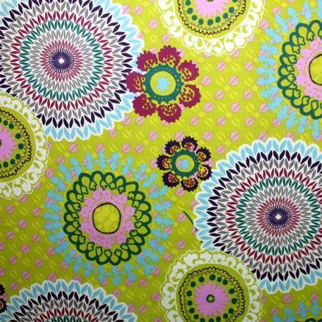 Tissu toile sergé Colima Vert x 64,5 cm