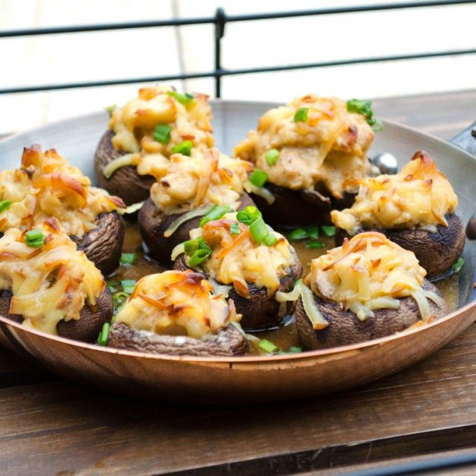 Lobster Stuffed Mushrooms- take the ordinary to the extraordinary! Lobster,cream cheese, chives and gouda.   Go Go Go Gourmet @gogogogourmet