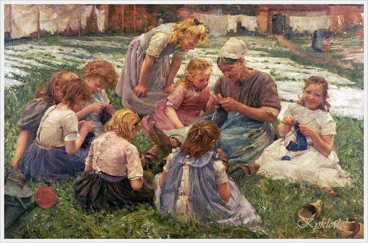 """*""""Knitting lesson"""". Pierre Jacques Dierckx  (1855-1947), Belgium painter.*"""