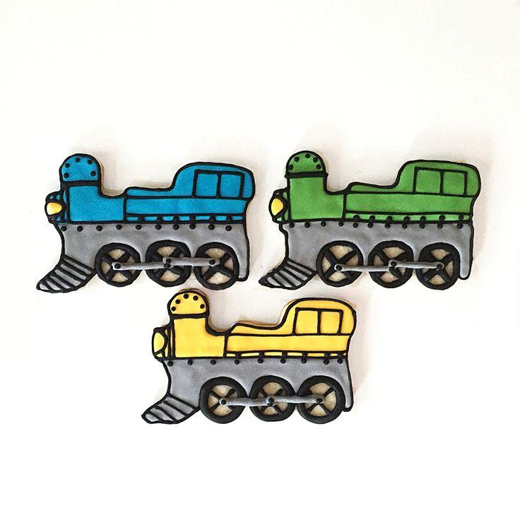 Custom Trains for a Birthday @sugarlovecookiesdesigns FB sugar love cookie designs
