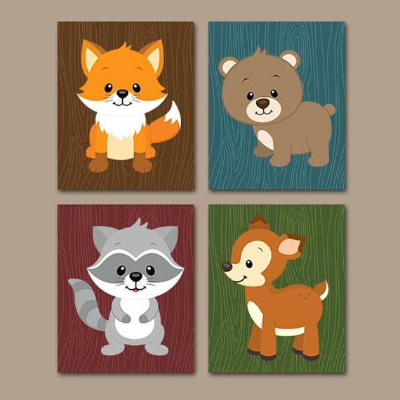 WOODLAND Animals Wall Art, Woodland Nursery Decor Canvas or Prints Baby Woodland Decor, Forest Animals, Bear Fox Deer Raccoon, Set of 4