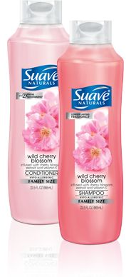 Bring out your hair's natural beauty with Suave Naturals Wild Cherry Blossom Shampoo and Conditioner.