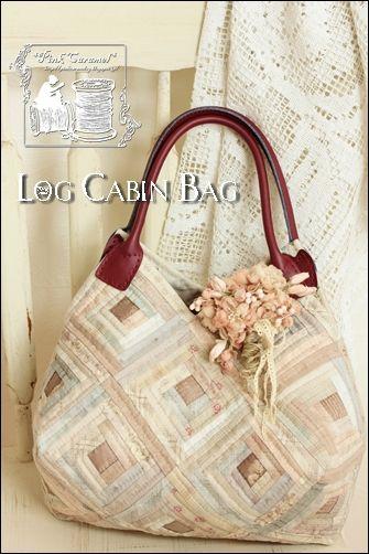 Pink Caramel: Log Cabin Bag & Fabric Flower