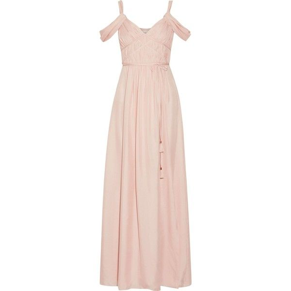 Rachel Zoe Coleen off-the-shoulder ruched silk maxi dress ($348) ❤ liked on Polyvore featuring dresses, pastel pink, off-shoulder dresses, pastel pink dresses, pastel maxi dress, off the shoulder maxi dress and off-the-shoulder dress