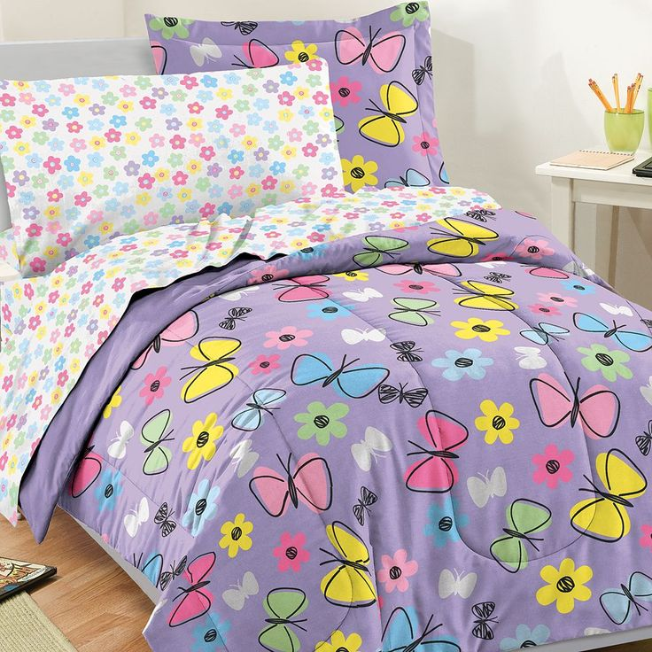 Dream Factory Sweet Butterfly Bed Set, Purple