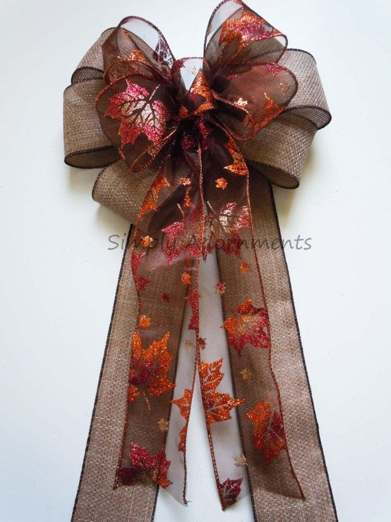 Rustic Burlap Fall Leaves Wedding Pew Bow by SimplyAdornmentsss. Or put it on your front door, a wreath etc.