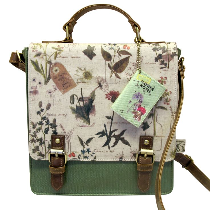 disaster designs wander mini shoulder bag with botanical and floral images in green oilcloth canvas