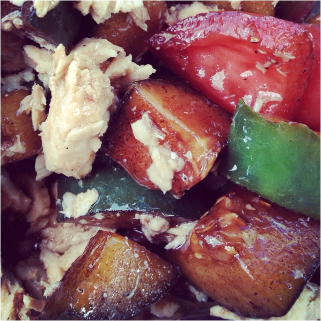 Tomato and cucumbers with balsamic vinegar and tuna from a can. Add ...