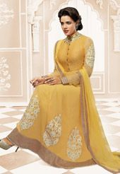 Yellow Faux Crape Abaya Style Churidar