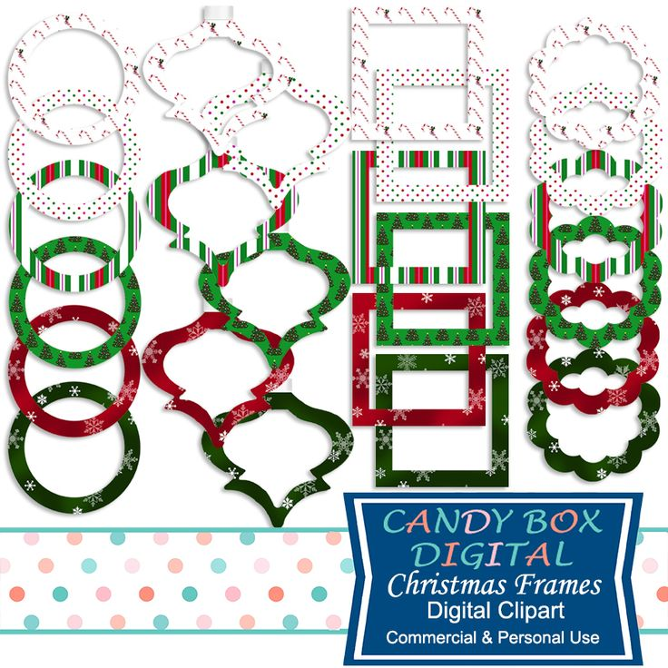 Christmas Digital Frame Clipart - Commercial Use OK - Candy Box Digital. now, candy canes, Christmas trees and traditional colors make these 24 wonderful digital frames great for accenting all those special Christmas, holiday and winter pictures! And they include 6 unique ornament-shaped frames that really highlight the season.  These frames are great for scrapbooks, cards, invitations, labels, photobooks, stickers and other paper crafts.