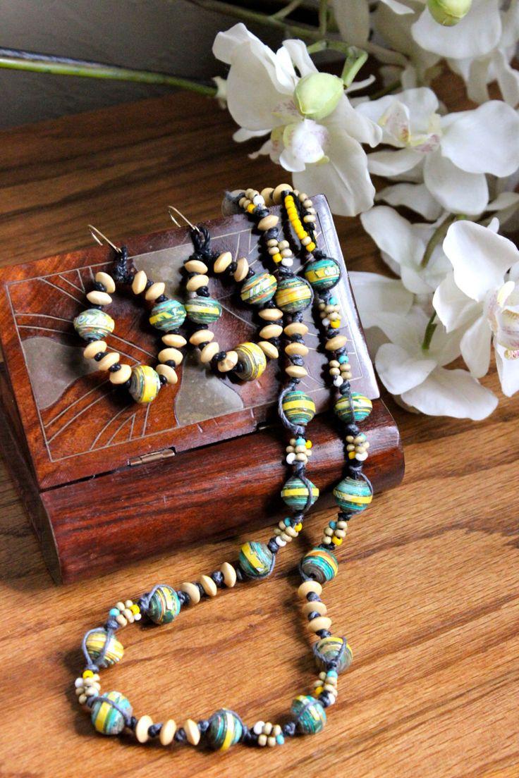 Aloha Series Paper Bead Necklace and Earrings by IlkasWearableArt on Etsy https://www.etsy.com/listing/250467104/aloha-series-paper-bead-necklace-and