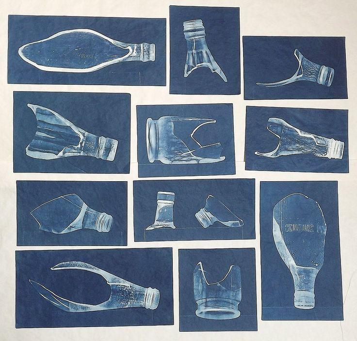 Lynnette Miller, Cyanotypes of broken bottles found in the garden.